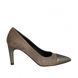 Woman's pointy pump shoe in taupe suede and grey leather heel 7 - Available sizes:  43, 45