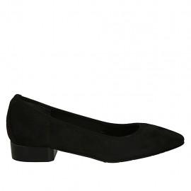 Zapato de salon puntiagudo para mujer en gamuza de color negro tacon 2 - Tallas disponibles:  32, 33, 34, 43, 45