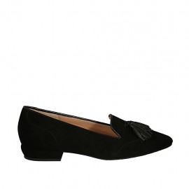 Woman's mocassin with tassels in black suede heel 2 - Available sizes:  33, 34, 42, 43, 44