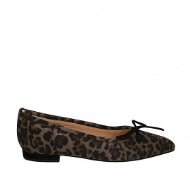 Woman's pointy ballerina shoe with bow in printed spotted suede heel 1 - Available sizes:  34, 43