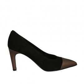 Woman's pointy pump shoe in black suede and bronze leather heel 7 - Available sizes:  31, 32, 34, 43, 45, 46, 47