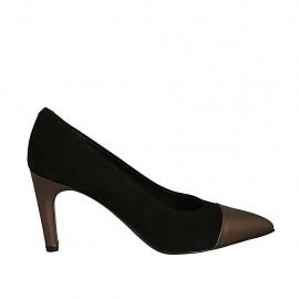 Zapato de salón puntiagudo para mujer en piel bronce y gamuza negra tacon 7 - Tallas disponibles:  31, 32, 34, 43, 45, 46, 47