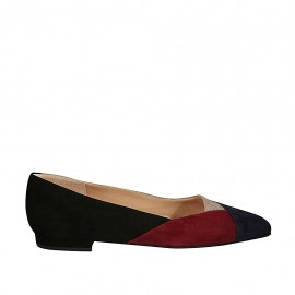 Woman's pump in black, blue, red and tauep patchwork suede heel 1 - Available sizes:  33, 34, 43, 44, 45