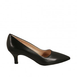 Women's pointy pump in black leather heel 5 - Available sizes:  32, 33, 43, 44, 45