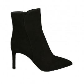 Botines a punta para mujer con cremallera en gamuza negra tacon 8 - Tallas disponibles:  31, 32, 34, 43, 46