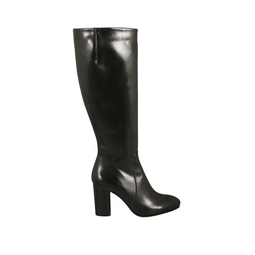 Bota para mujer con elastico y cremallera en piel negra tacon 8 - Tallas disponibles:  31, 32, 33, 34, 43, 44