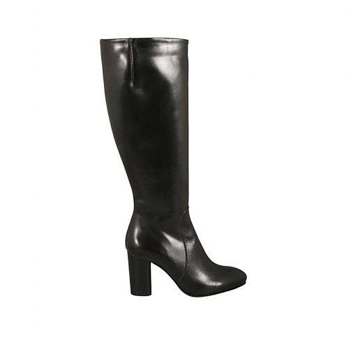 Woman's boot with elastic band and zipper in black leather heel 8 - Available sizes:  31, 32, 33, 34, 43, 44
