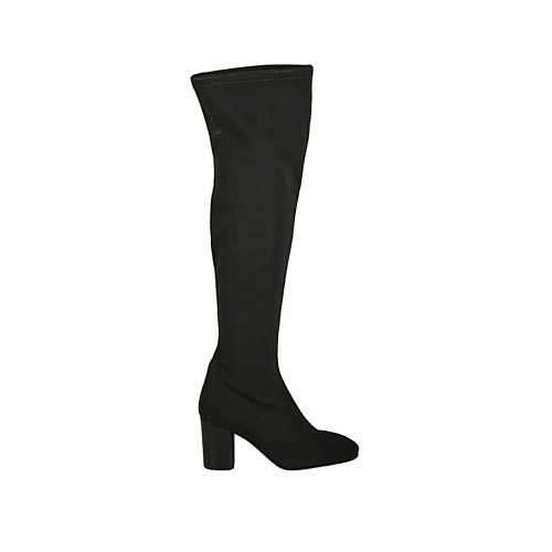 Woman's boot in black elastic fabric heel 7 - Available sizes:  33, 34, 42, 46