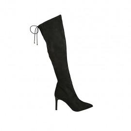 Kniehoher spitzer  Damenstiefel aus schwarzem elastischem Wildleder mit Schnüren und Reissverschluss Absatz 8 - Verfügbare Größen:  32, 42, 43