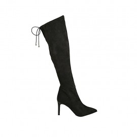 Woman's knee-high pointy boot in black elasticized suede with lace and zipper heel 8 - Available sizes:  32, 34, 42, 43, 45
