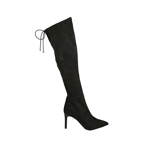 Woman's knee-high pointy boot in black elasticized suede with lace and zipper heel 8 - Available sizes:  32, 33, 34, 42, 43, 45