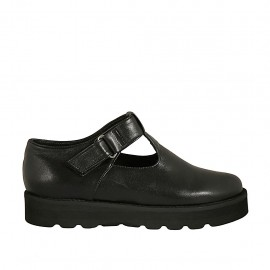 Woman's shoe with velcro strap in black leather wedge heel 3 - Available sizes:  33, 34, 42, 43, 44, 45, 46, 47