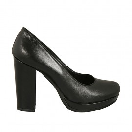 Woman's pump in black leather with platform block heel 9 - Available sizes:  31, 32, 33, 34, 42, 46, 47