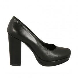 Zapato de salon para mujer en piel negra con plataforma tacon cuadrado 9 - Tallas disponibles:  31, 33, 34