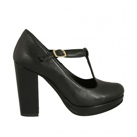 Woman's T-strap pump with platform in black leather heel 9 - Available sizes:  32, 34, 42, 43, 45, 47