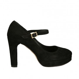 Woman's platform pump in black suede with strap heel 9 - Available sizes:  31, 33, 34, 42, 43, 44, 45, 47