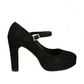 Zapato de salon para mujer con cinturon y plataforma en gamuza negra tacon 9 - Tallas disponibles:  31, 33, 34, 43, 44, 45
