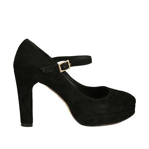 Woman's platform pump in black suede with strap heel 9 - Available sizes:  31