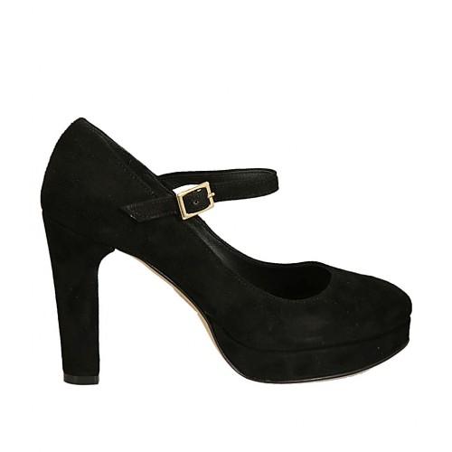 Zapato de salon para mujer con cinturon y plataforma en gamuza negra tacon 9 - Tallas disponibles:  31, 34, 44, 45