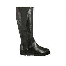 Damenstiefel mit Gummibändern aus schwarzem Leder Keilabsatz 3 - Verfügbare Größen:  43, 44, 45, 46
