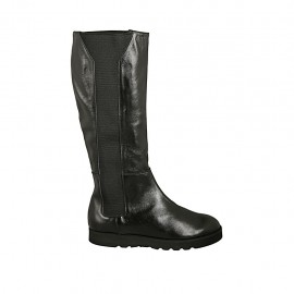 Woman's boot with elastic bands in black leather wedge heel 3 - Available sizes:  43, 44, 45, 46