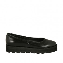 Woman's ballerina shoe in black leather wedge heel 3 - Available sizes:  33, 34, 42, 43, 44, 45, 46