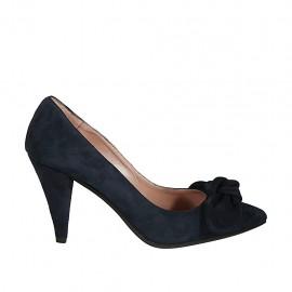 Zapato de salon para mujer con moño en daim azul tacon 8 - Tallas disponibles:  32, 34, 43, 45