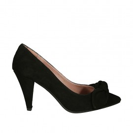 Woman's pump with bow in black suede heel 8 - Available sizes:  32, 33, 34, 42, 43, 44