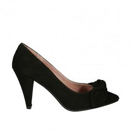 Zapato de salon para mujer con moño en gamuza negra tacon 8 - Tallas disponibles:  32, 33, 34, 43