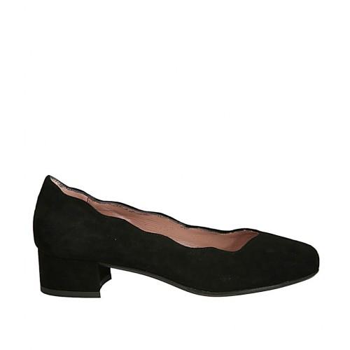 Zapato de salon en gamuza negra para mujer tacon 3 - Tallas disponibles:  32