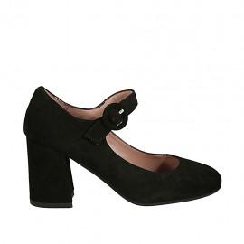 Zapato de salón con cinturon para mujer en gamuza negra tacon cuadrado 7 - Tallas disponibles:  33, 34, 42, 43, 44