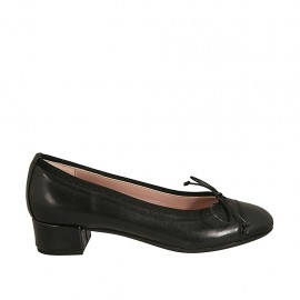 Woman's pump shoe in black leather with bow heel 3 - Available sizes:  33, 34, 42, 43, 44, 45