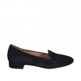 Woman's loafer in blue suede heel 2 - Available sizes:  34, 42