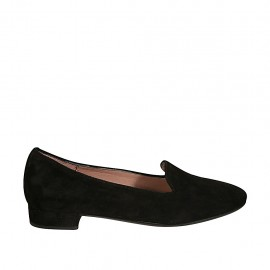Woman's mocassin in black suede heel 2 - Available sizes:  32, 34, 43, 44
