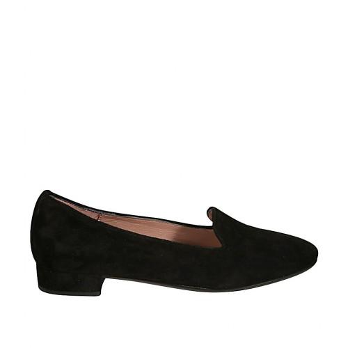 Mocasino para mujer en gamuza color negro tacon 2 - Tallas disponibles:  32, 44