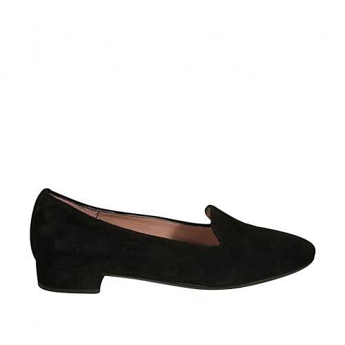 Woman's loafer in black suede heel 2 - Available sizes:  32, 44
