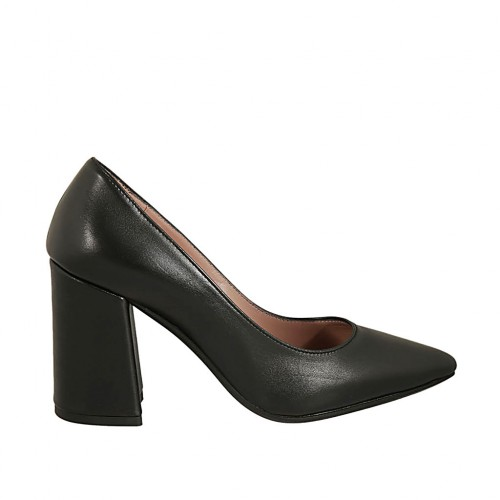 black-colored leather block heel 8