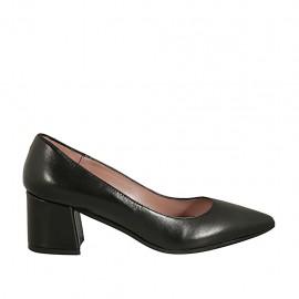 Spitzer Damenpump aus schwarzem Leder Blockabsatz 5 - Verfügbare Größen:  32, 33, 34, 42, 43, 44, 45