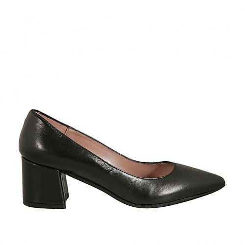 Woman's pointy pump in black leather block heel 5 - Available sizes:  32