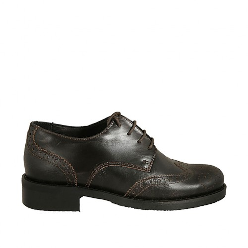 Woman's laced derby shoe in brown leather with Brogue decorations heel 3 - Available sizes:  43, 44, 45
