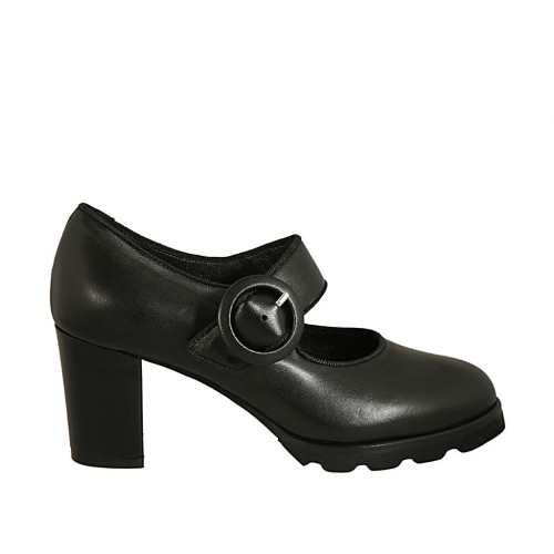 Woman's pump with strap in black leather heel 6 - Available sizes:  34