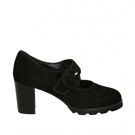 Woman's pump with strap in black suede heel 6 - Available sizes:  33, 34, 42, 43, 44