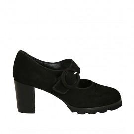 Zapato de salón para mujer con cinturon en gamuza negra tacon 6 - Tallas disponibles:  42, 43, 44