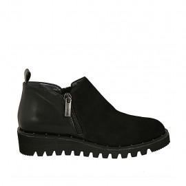 Chaussure à cou-de-pied haut pour femmes avec fermetures éclair en daim et cuir noir talon compensé 3 - Pointures disponibles:  32, 33, 34, 42, 43