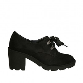 Damenschuh mit Schnürsenkeln aus schwarzem Wildleder Absatz 7 - Verfügbare Größen:  33, 34, 42, 43, 44