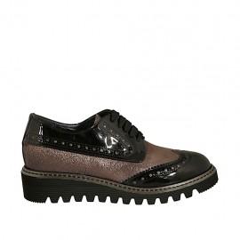 Chaussure derby à lacets pour femmes en cuir verni noir et cuir lamé bronze talon compensé 3 - Pointures disponibles:  32, 33, 34, 42, 43, 44