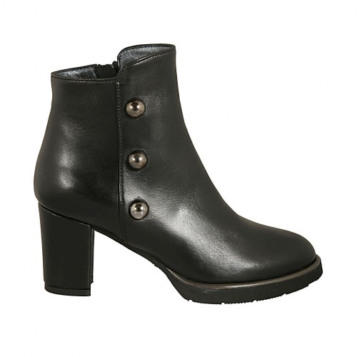 Woman's ankle boot with zipper and studs in black leather heel 7 - Available sizes:  33, 34, 44