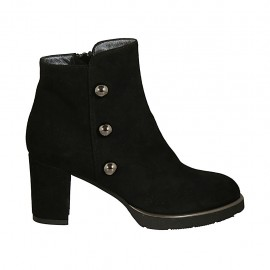 Woman's ankle boot with zipper and studs in black suede heel 7 - Available sizes:  32, 33, 34, 42, 44