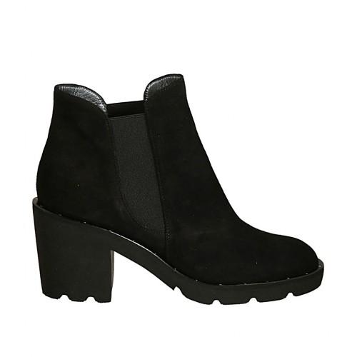 Botines para mujer en gamuza negra con elasticos tacon 7 - Tallas disponibles:  32, 33, 42, 43, 44, 45