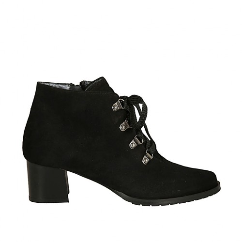 Woman's laced ankle boot with zipper in black suede heel 5 - Available sizes:  33, 44